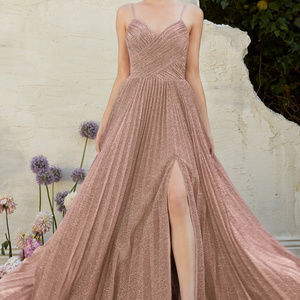 Mauve Spaghetti Straps Prom Long Dress
